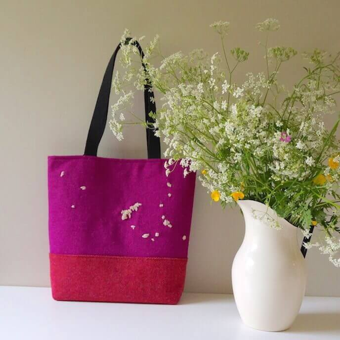 Hand Embroidered Tote Bag Pink