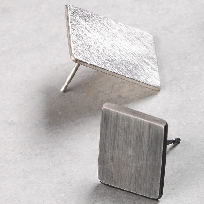 Sheng Zhang handmade square oxidised textured silver earrings jewellery
